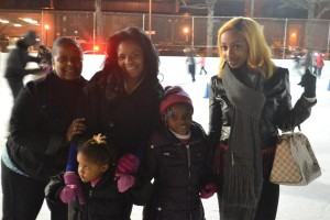 Sannai (center), 6, kicked off the start of the holiday week with her family at the rink.