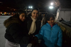 Emily Bonilla, Alissa Pérez and Idalys Pérez enjoyed celebrating Alissa's 15th birthday on ice.
