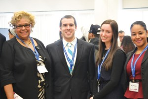 From left to right: Lolita Wood-Hill, Director of Pre-Health Advisement at Yeshiva College and Executive Director of College EDge; Chaim Szachtel, President of College EDge; Ronit Goldberg, Vice President of College EDge; and Angela Márquez, Student Aid Counselor at Yeshiva College.