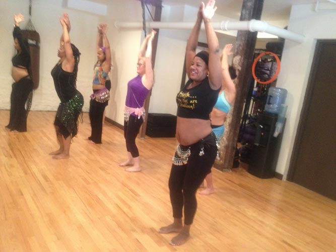 Belly dance for bodyweight exercise.