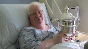"""I want to see this,"" said Danny Mollica of the U.S. Open trophies, on tour at the Mount Sinai Medical Center."