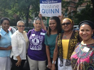 """She has a track record of getting things done,"" said NOW-NYS President Zenaida Méndez (first on left), with members of the Dominican Women's Coalition. <br><i>Photo: Gregg McQueen</i>"