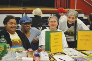 Members of the Morningside Heights/West Harlem Sanitation Coalition (from left to right: Martha Cane, Sarah Martin, Cynthia Doty and Joan Levine) offered recycling information.