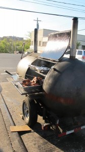 The propane tank is a custom-made smoker, which he also occasionally uses to boil and fry mussels, clams and crabs.