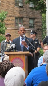 """""""We're here to make sure families here have what they need to thrive,"""" said NYCHA Commissioner John Rhea."""