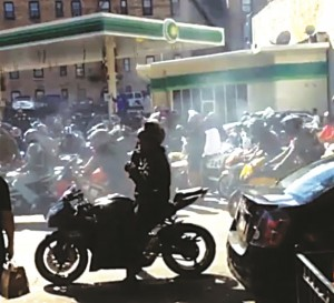 Motorcyclists overtook the sidewalk on Dyckman Street.