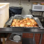 Volunteers baked 2,000 chickens and prepped vegetables.