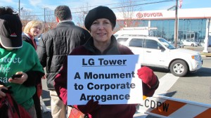 Nancy Morrison and a funeral hearse appeared at the groundbreaking for the new LG Electronics headquarters.