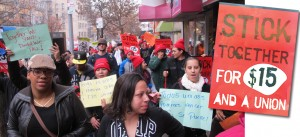 Fast food workers and supporters protested low wages.