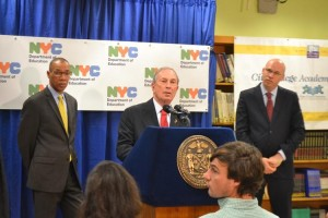 The real Mayor Michael Bloomberg at a press conference.