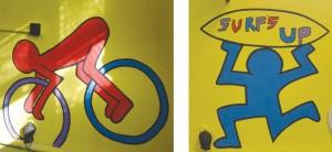 Algunas de las figuras fueron inspiradas por el artista Keith Haring.