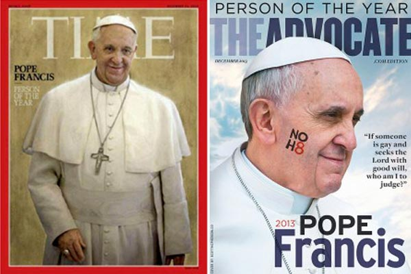 """Pope Francis was chosen as """"Person of the Year"""" by both Time Magazine and The Advocate."""