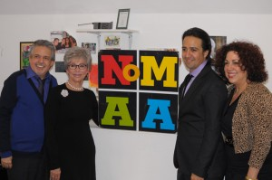 Moreno visited the Northern Manhattan Arts Alliance (NoMAA), including Board Secretary and <i>The Manhattan Times</i> publisher Luis Miranda, NoMAA Executive Director Sandra García-Betancourt and In the Heights creator Lin-Manuel Miranda.