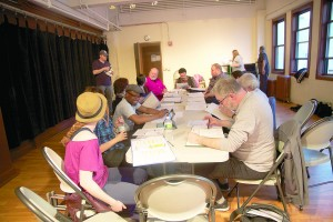 Moose Hall actors conduct their first read-through last year.