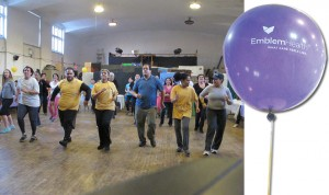 "EmblemHealth's community partnership ""Live Healthy"" kicked off with a Zumba fitness class."