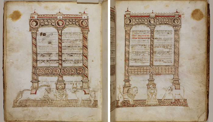 Arcade Supported by Animals, from a Haggadah  Joel ben Simeon (active in Italy and Germany, 1400s)  Tempera, ink, and gold leaf on parchment  Italian  Written and painted about 1454  Courtesy of The Library of The Jewish Theological Seminary (L.2014.20a)