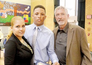 William De La Cruz is flanked by his mother and his mentor Bob Spector.